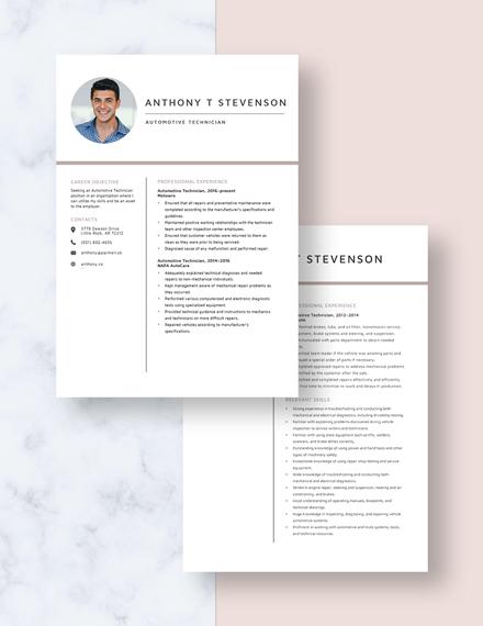Automotive Technician Resume Download