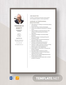 Automotive Trainer Resume Template