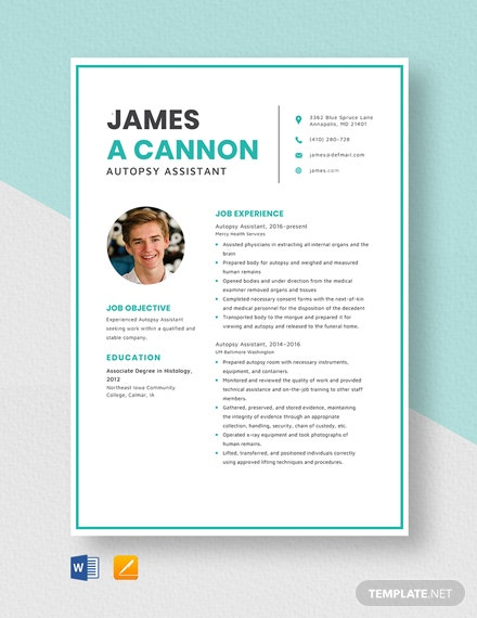 Autopsy Assistant Resume Template
