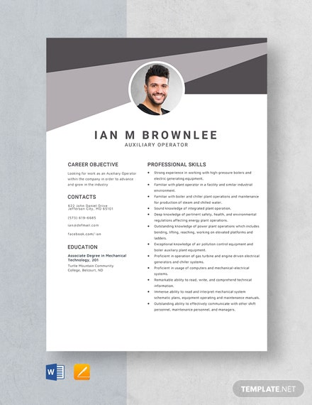 Auxiliary Operator Resume Template