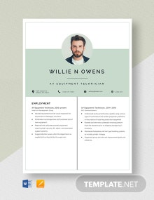 AV Equipment Technician Resume Template