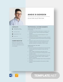 Aviation Electrician Resume Template