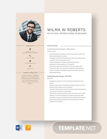 Aviation Operations Manager Resume Template