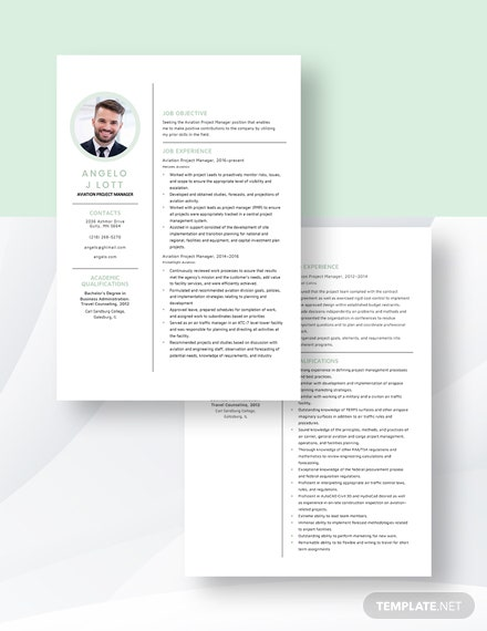 Aviation Project Manager Resume Download