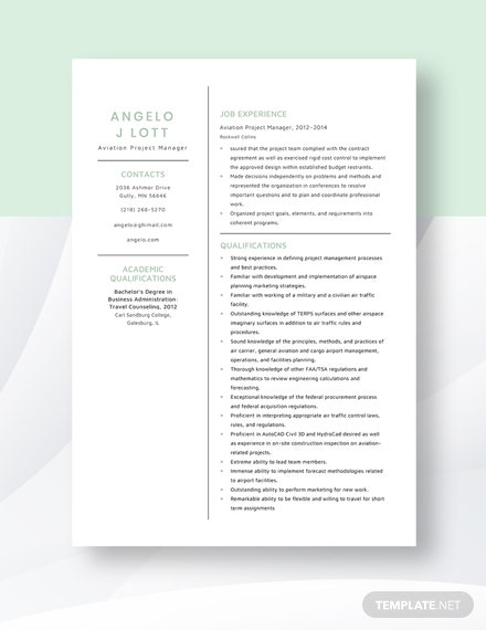 Aviation Project Manager Resume Template