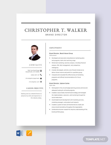 Brand Director Resume Template