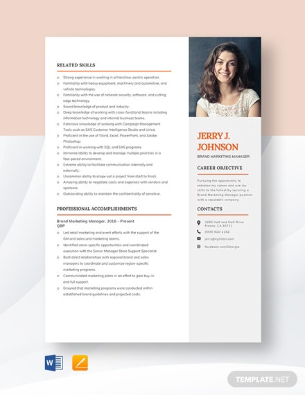 Brand Marketing Manager Resume Template