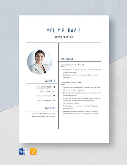 Brand Planner Resume Template