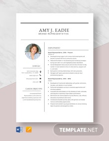 Brand Representative Resume Template
