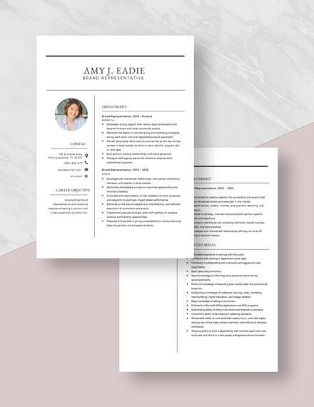 Brand Representative Resume Download