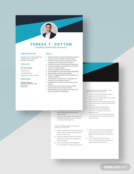 Business Operations Specialist Resume Download