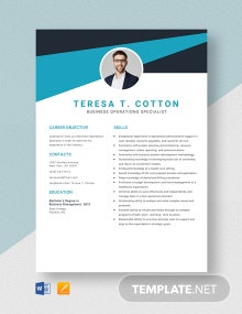 Business Operations Specialist Resume Template