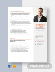 Business Partner Account Manager Resume Template