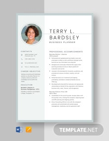 Business Planner Resume Template