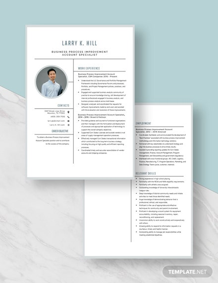 Business Process Improvement Account Specialist Resume Download