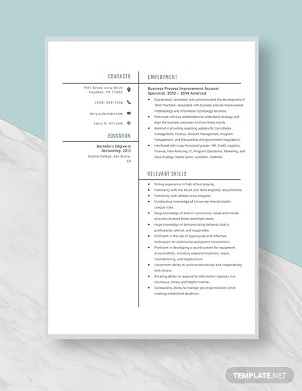Business Process Improvement Account Specialist Resume Template