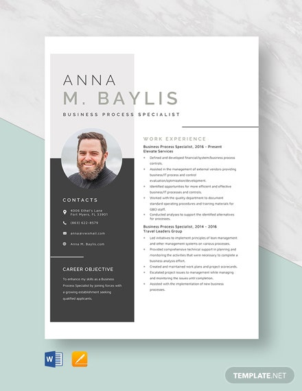 Business Process Specialist Resume Template