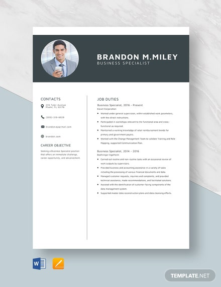 Business Specialist Resume