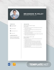 Business Specialist Resume Template
