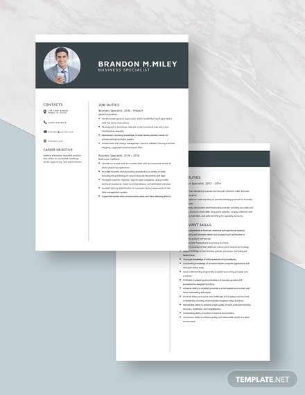 Business Specialist Resume Download