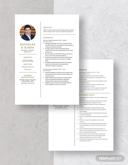 Business Support Specialist Resume Download