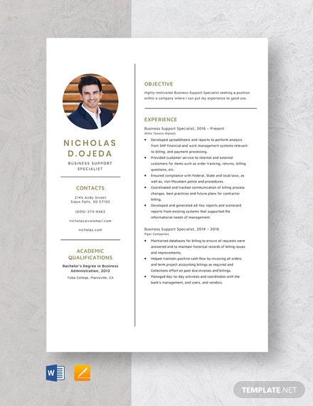 Business Support Specialist Resume Template