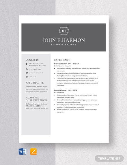 Business Trainer Resume Template