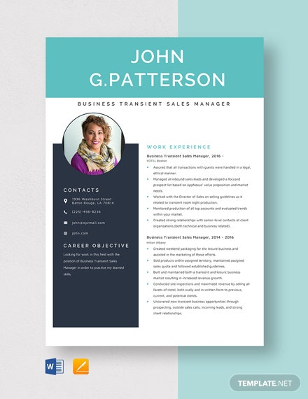 Business Transient Sales Manager Resume Template