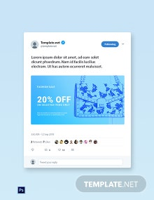 Free Fashion Sale Promotion Twitter Post Template