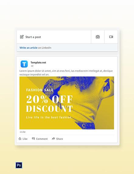 Free Creative Fashion Sale LinkedIn Blog Post Template