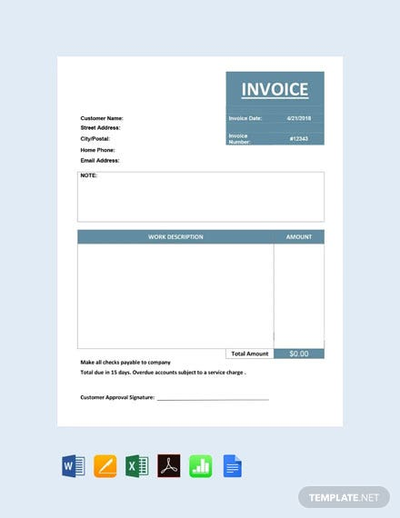 Free Basic Service Invoice Template