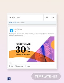 Free Elegant Fashion Sale Linkedin blog post Template