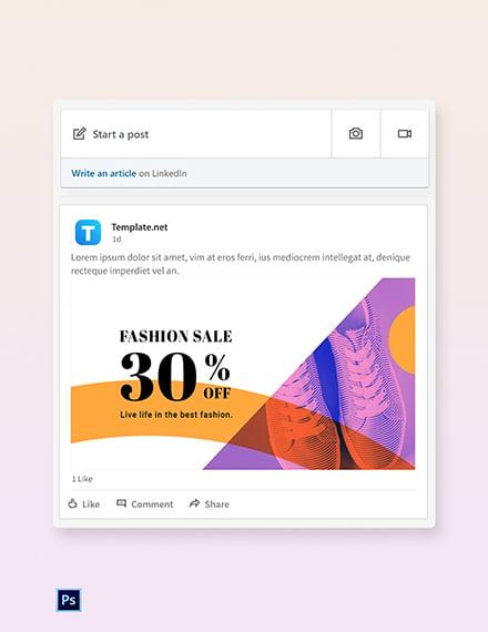 Elegant Fashion Sale Linkedin blog post Template