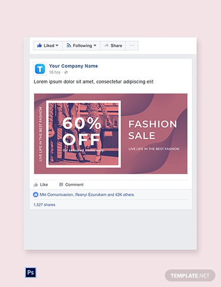 Free Fashion Sale Offers Facebook post Template