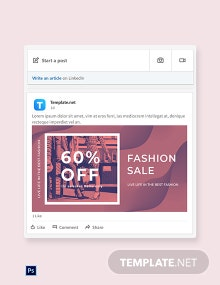 Free Fashion Sale Offers Linkedin blog post Template