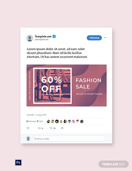 Free Fashion Sale Offers Twitter post Template