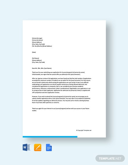 Free Admission Application Rejection Letter