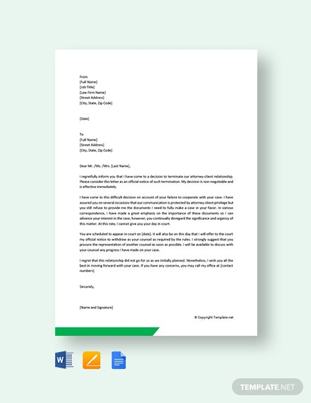 Free Attorney Client Termination Letter