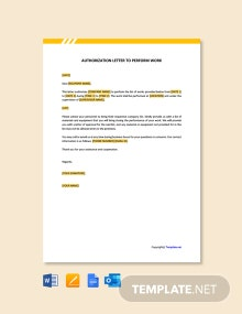 Free Authorization Letter to Perform Work