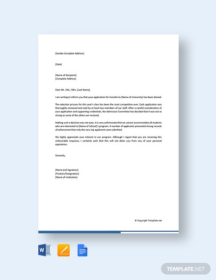 Free College Transfer Application Rejection Letter