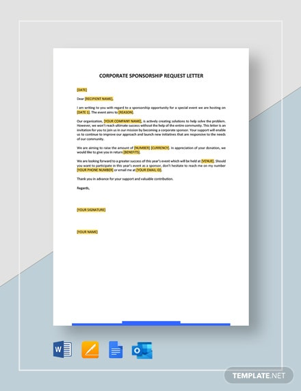 Free Corporate Sponsorship Request Letter