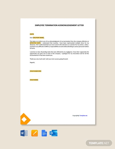 Free Employee Termination Acknowledgement Letter