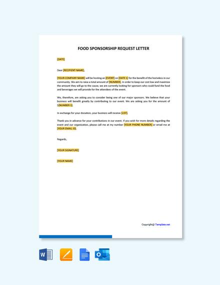 Free Food Sponsorship Request Letter