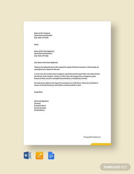 Free Grant Rejection Letter