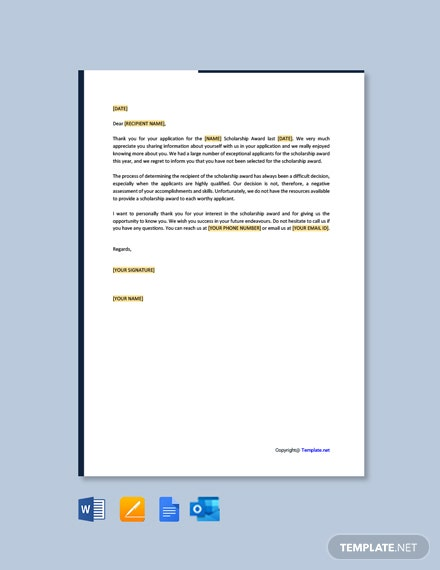 Free Rejection Letter for Scholarship Award