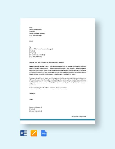 Free Resignation Letter Due to Internship