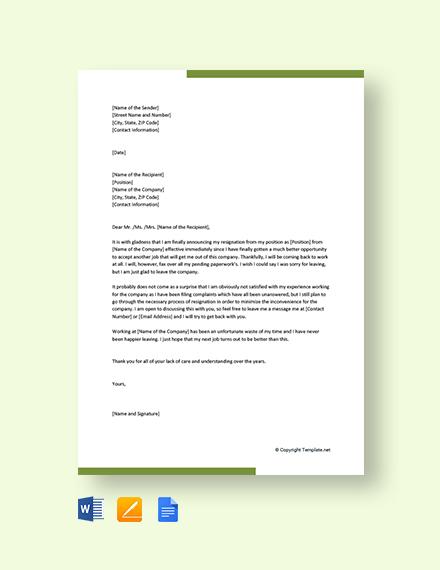 Free Rude Resignation Letter