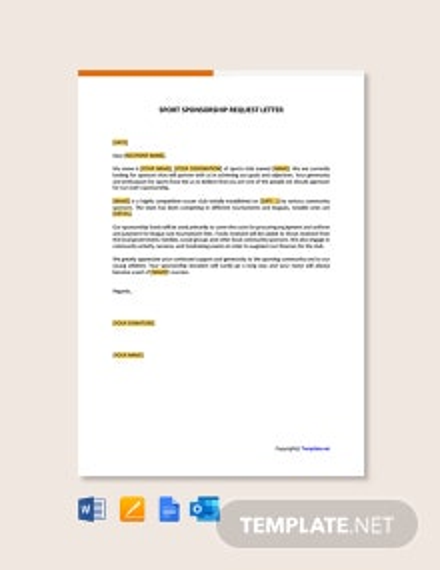 Free Sport Sponsorship Request Letter