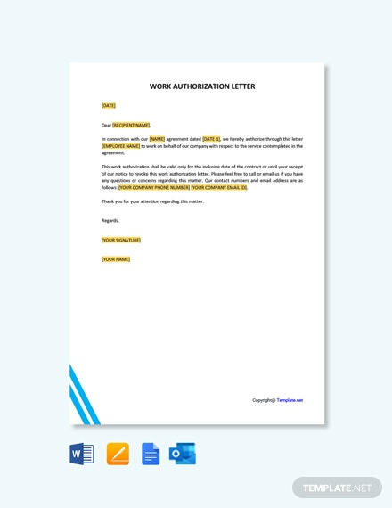 Free Work Authorization Letter