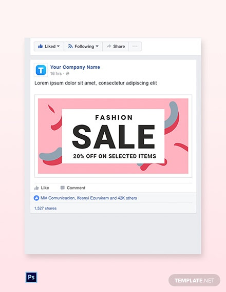 Free Modern Fashion Sale Facebook Post Template